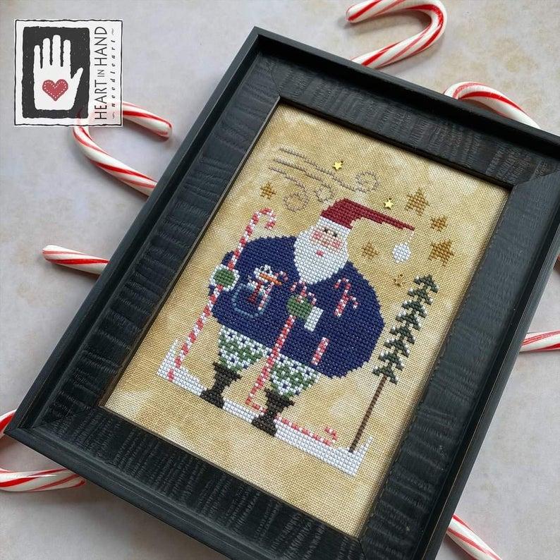 Heart in Hand WEE SANTA Cross Stitch Pattern