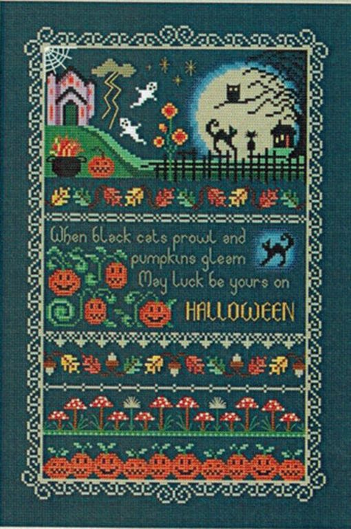 Little Dove Designs ~ BLACK CATS & PUMPKINS Cross Stitch Pattern