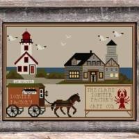 Twin Peak Primitives LOBSTER FACTORY Cross Stitch Pattern