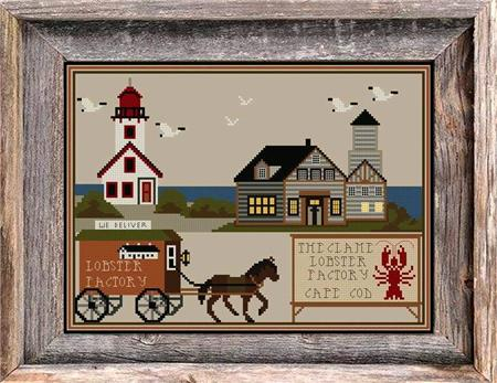 Twin Peak Primitives LOBSTER FACTORY Cross Stitch Pattern