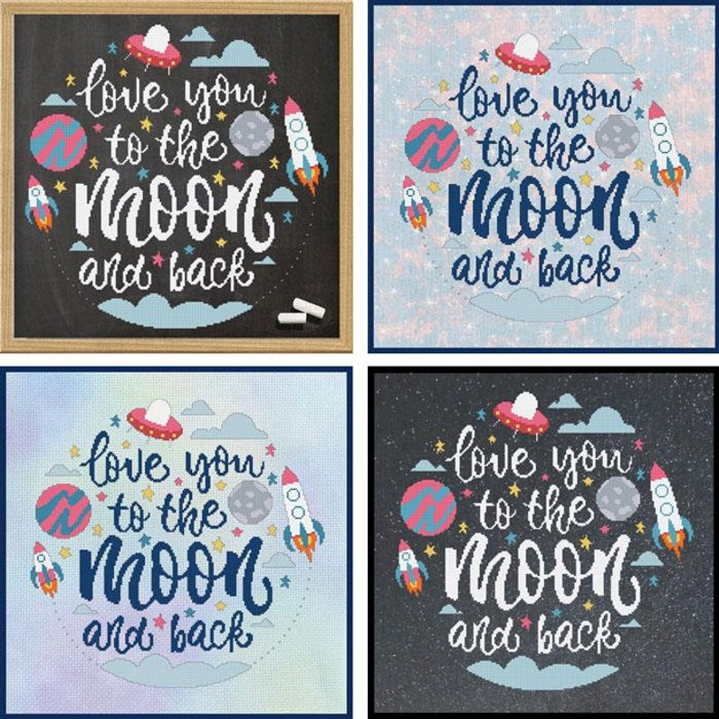 Love You To The Moon And Back Cross Stitch Pattern