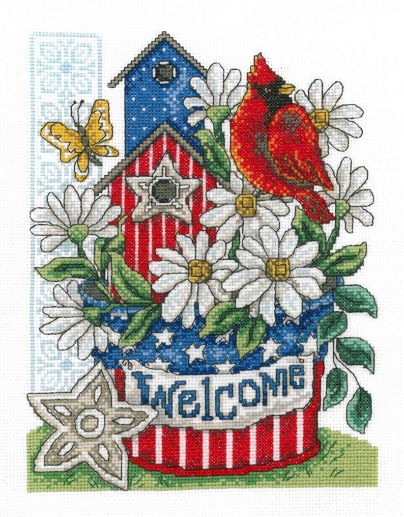 PATRIOTIC WELCOME Cross Stitch Pattern by Imaginating