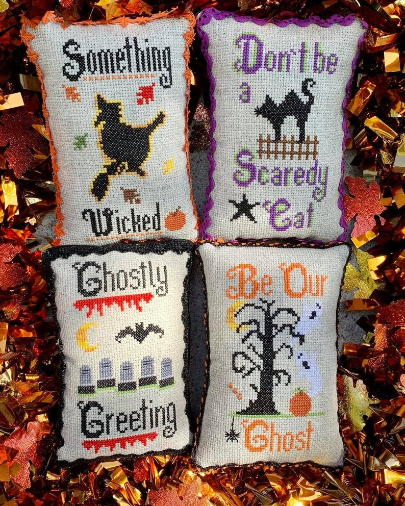 Pickle Barrel HALLOWEEN 4-PACK Cross Stitch Pattern