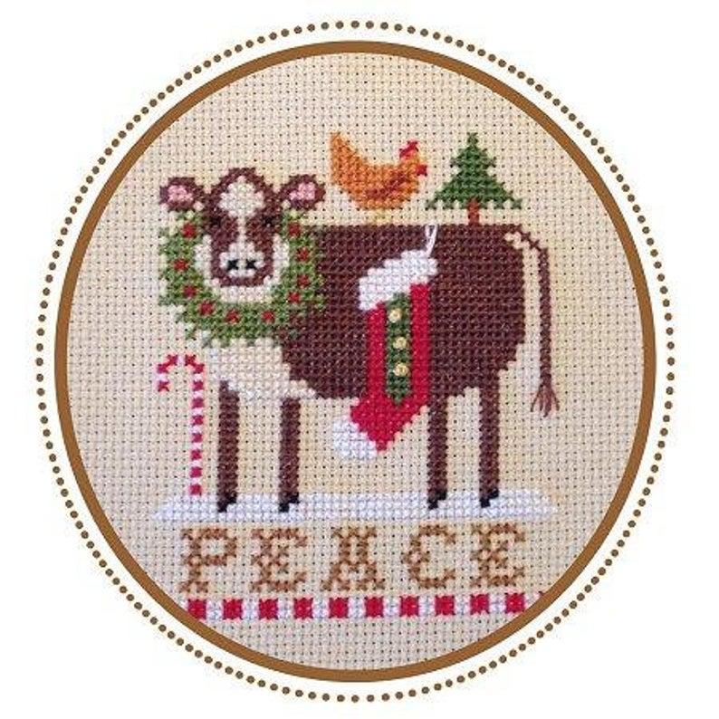 Plum Pudding NeedleArt CHRISTMAS COW ORNAMENT Cross Stitch Pattern