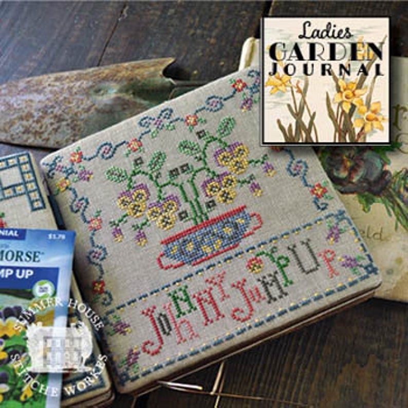 Summer House Stitch Workes LADIES GARDEN JOURNAL Johnny Jump Up #5 Cross Stitch Pattern
