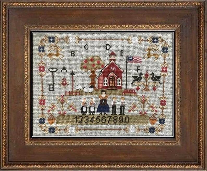 Twin Peak Primitives OLD SCHOOL On PRAIRIE Cross Stitch Pattern