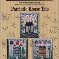 Waxing Moon Designs PATRIOTIC HOUSE TRIO Cross Stitch Pattern