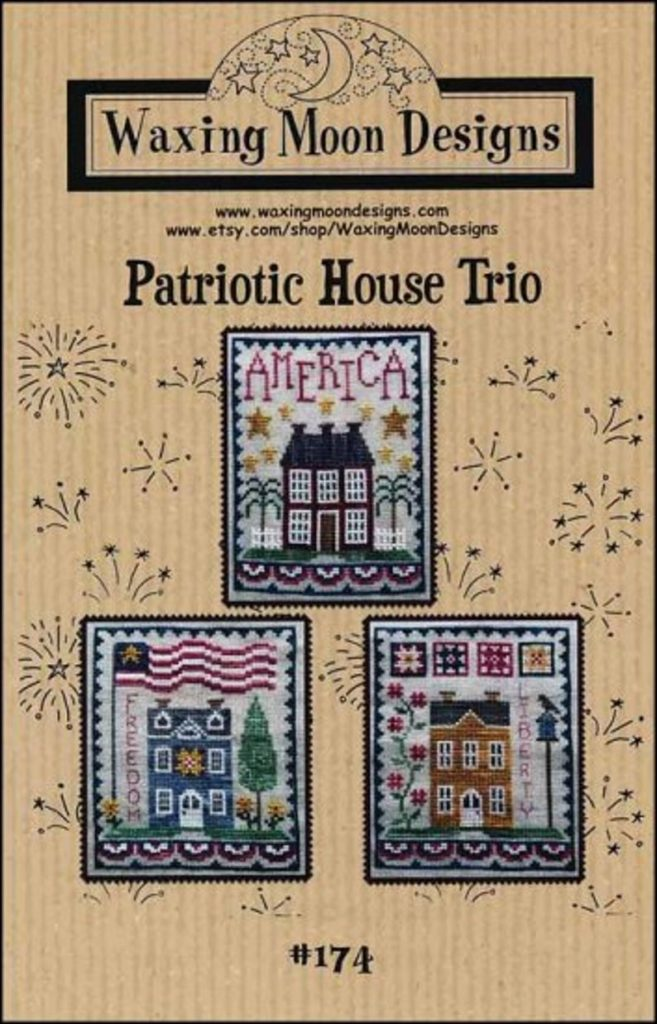 Waxing Moon Designs PATRIOTIC HOUSE TRIO Cross Stitch Pattern