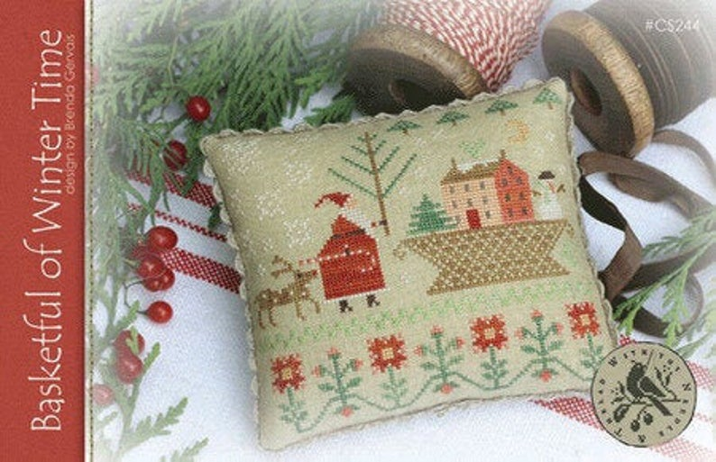 With Thy Needle & Thread BASKETFUL Of WINTER Time Cross Stitch Pattern