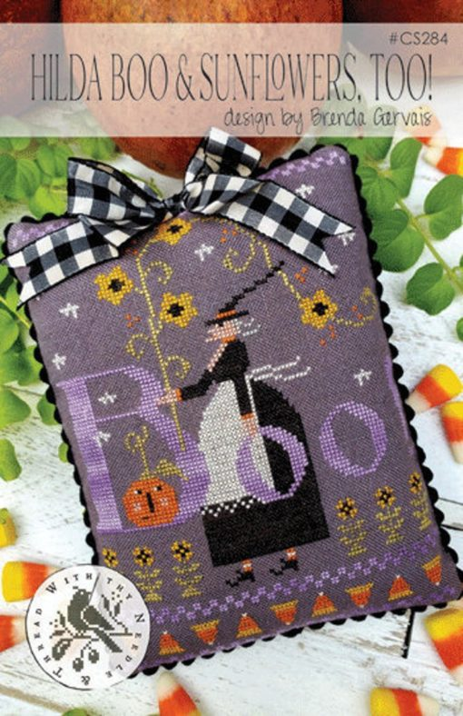 With Thy Needle & Thread HILDA BOO and SUNFLOWERS Too Cross Stitch Pattern
