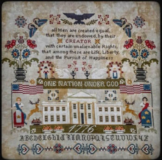 Twin Peak Primitives ONE NATION UNDER GOD Cross Stitch Pattern