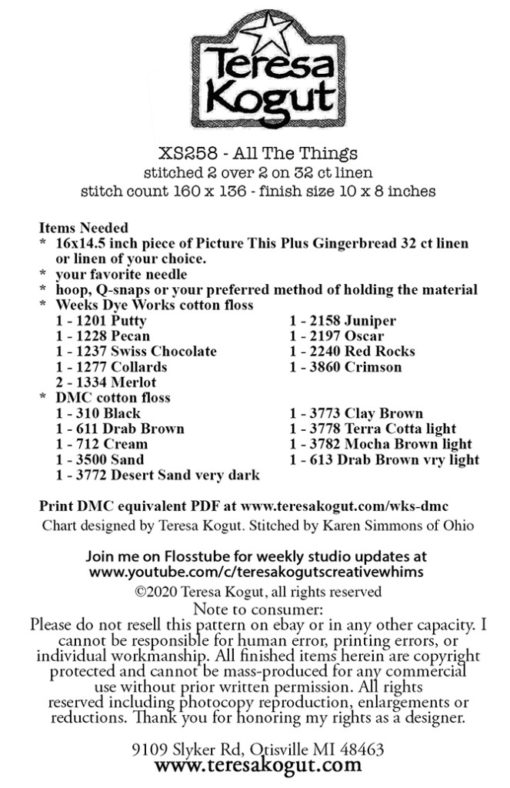 Teresa Kogut ALL THE THINGS Cross Stitch Pattern