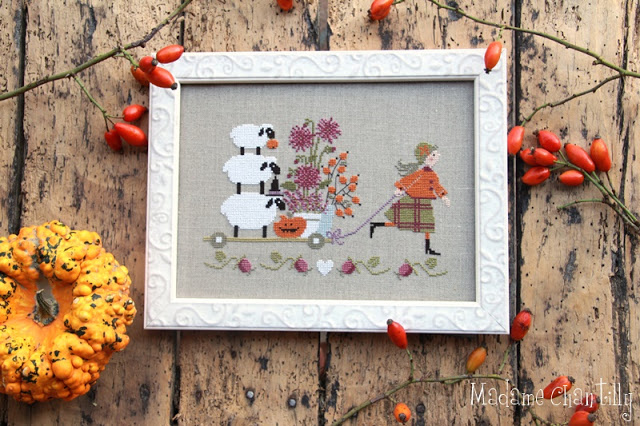 Madame Chantilly Autumn Delivery Cross Stitch Pattern