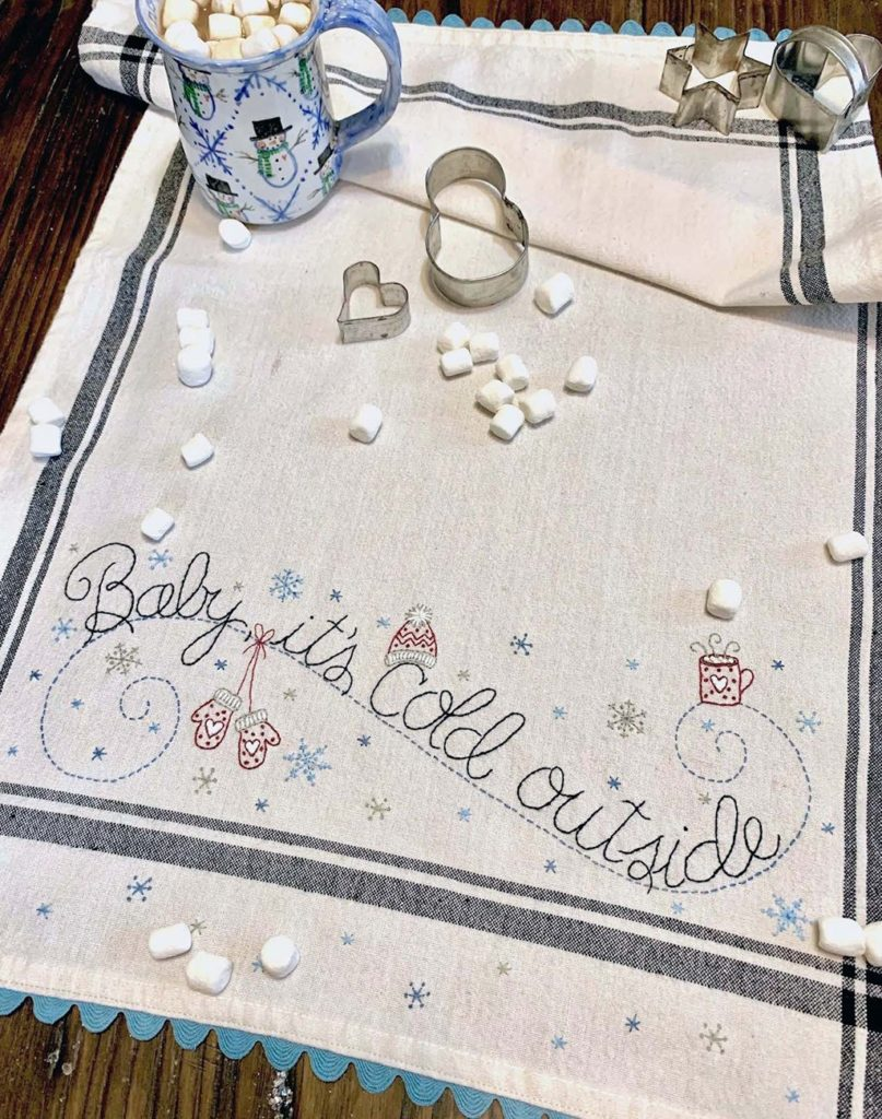 Bareroots BABY, IT'S Cold OUTSIDE Hand Embroidery Dishtowel Kit