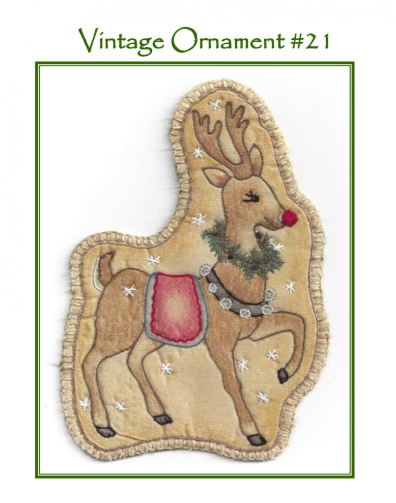 Chickadee Hollow Designs Vintage CHRISTMAS SANTA'S REINDEER Hand Embroidery Pattern