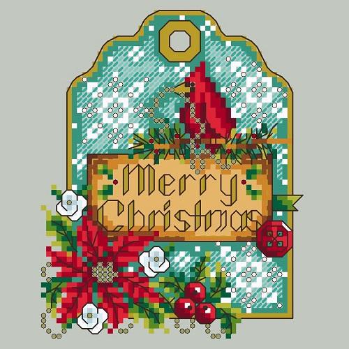 Shannon Christine CARDINAL GIFT TAG Cross Stitch Pattern