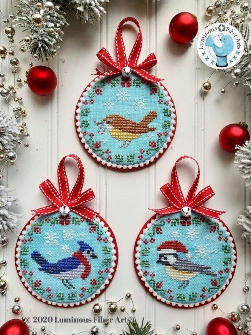 Luminous Fiber Arts CHRISTMAS BIRD TRIO Cross Stitch Pattern