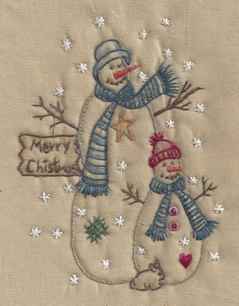 Chickadee Hollow Designs CHRISTMAS SNOWMAN Hand Embroidery Pattern