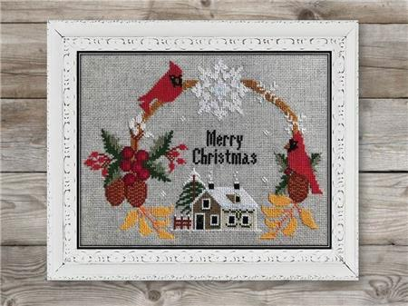 Twin Peak Primitives CHRISTMAS WREATH Cross Stitch Pattern