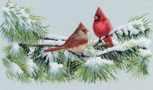 Dimensions WINTER CARDINALS Cross Stitch Kit