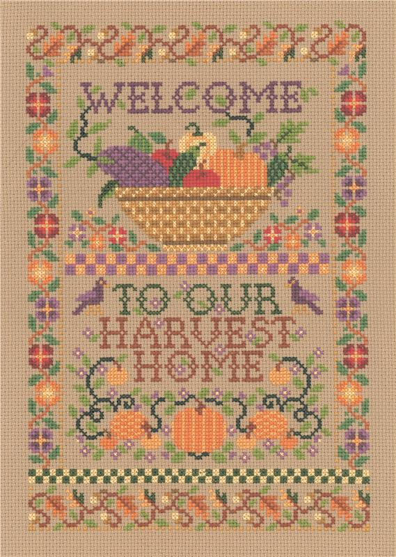 Imaginating HARVEST HOME WELCOME Cross Stitch Pattern