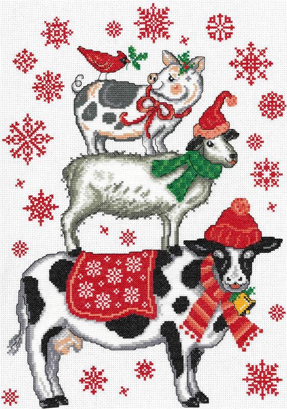 Imaginating HOLIDAY FARM ANIMALS Cross Stitch Pattern
