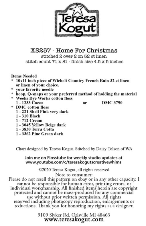 Teresa Kogut HOME FOR CHRISTMAS Cross Stitch Pattern