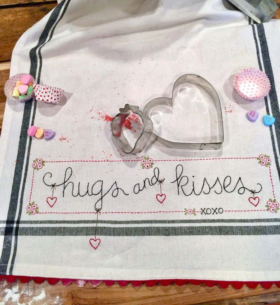 Bareroots HUGS & KISSES Hand Embroidery Dishtowel Kit