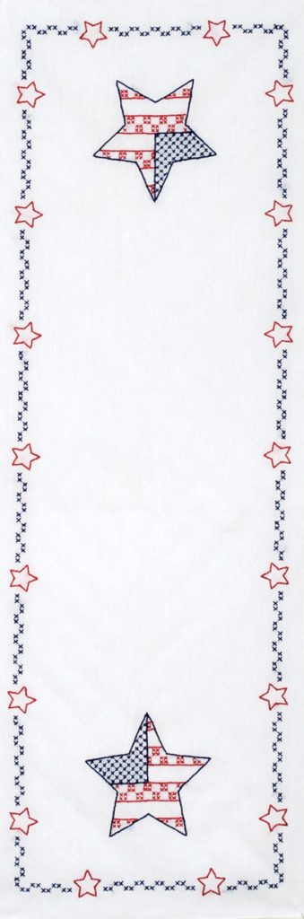 Jack Dempsey INDEPENDENCE DAY Table Runner Stamped Cross Stitch