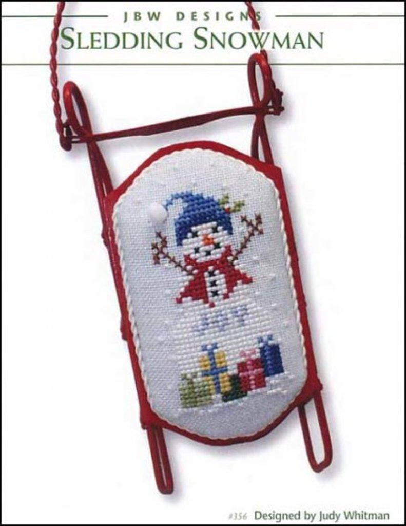 JBW Designs SLEDDING SNOWMAN Cross Stitch Pattern