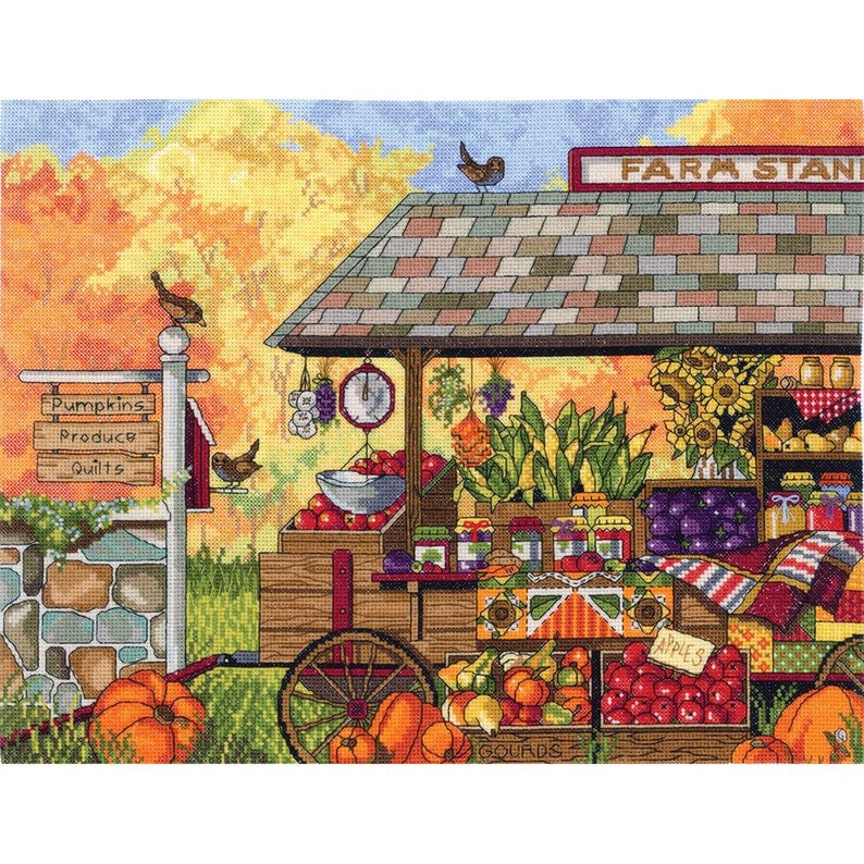 Janlynn BUCKS' COUNTY FARM Stand Cross Stitch Kit - 14 Count