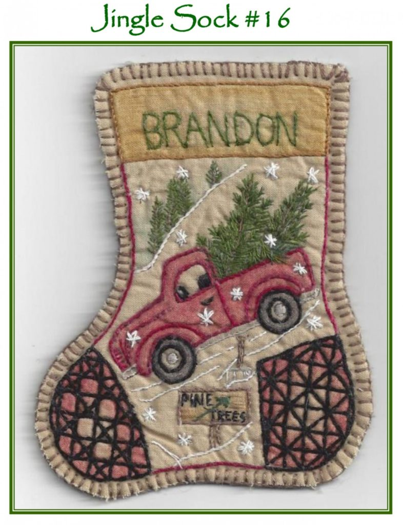 Chickadee Hollow Designs JINGLE SOCK SANTA'S Truck Hand Embroidery Pattern