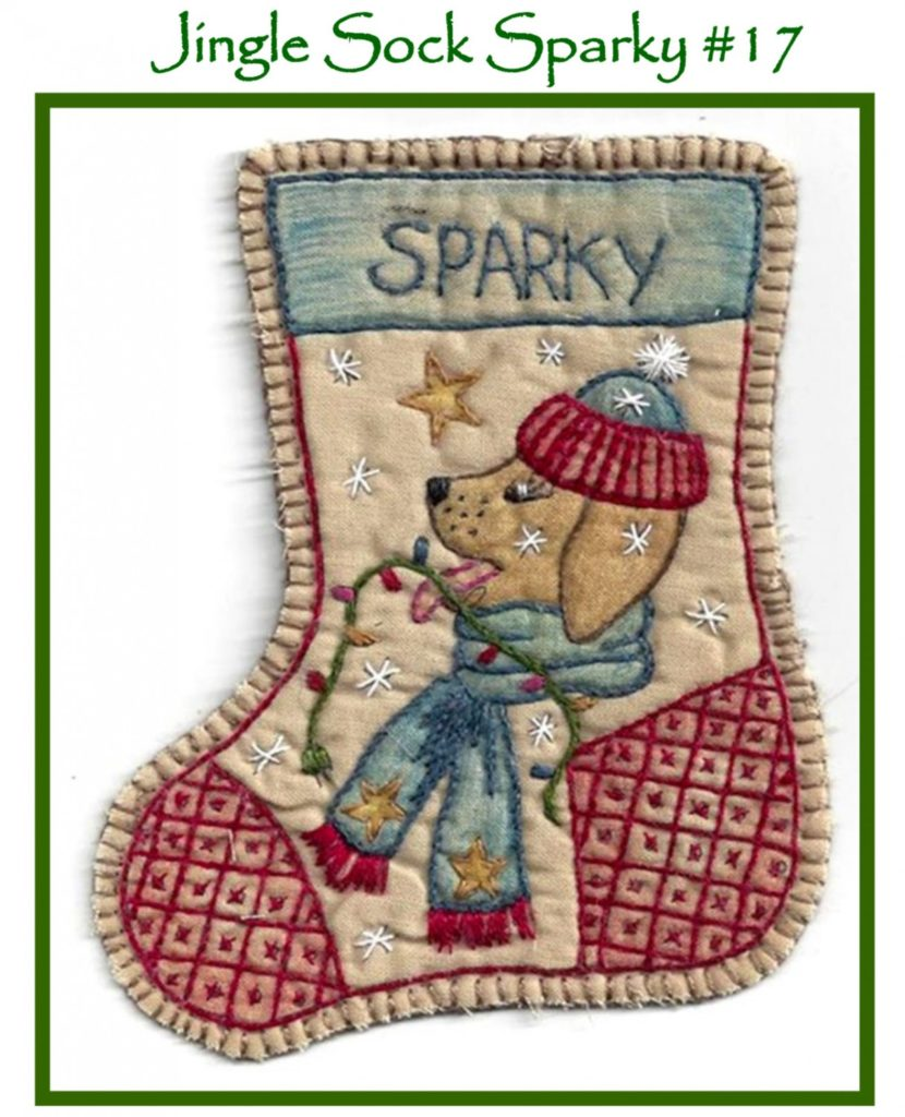 Chickadee Hollow Designs JINGLE SOCK SPARKY Hand Embroidery Pattern