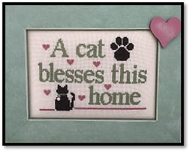 Kay's Frames & Designs CAT BLESSES (with charm) Cross Stitch Pattern