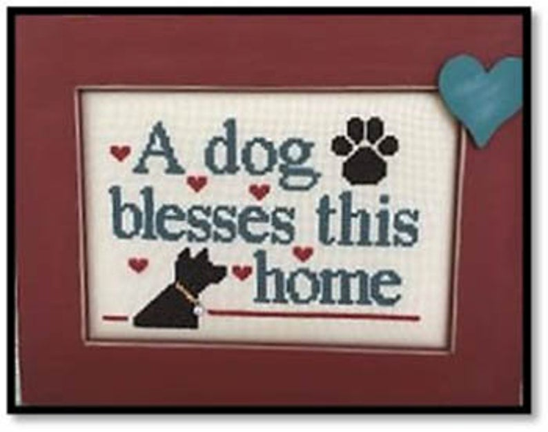 Kay's Frames & Designs DOG BLESSES (with charm) Cross Stitch Pattern