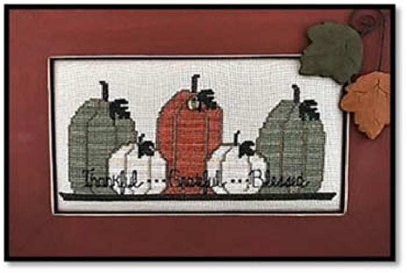 Kay's Frames & Designs Thankful Grateful Blessed (with charm) Cross Stitch Pattern