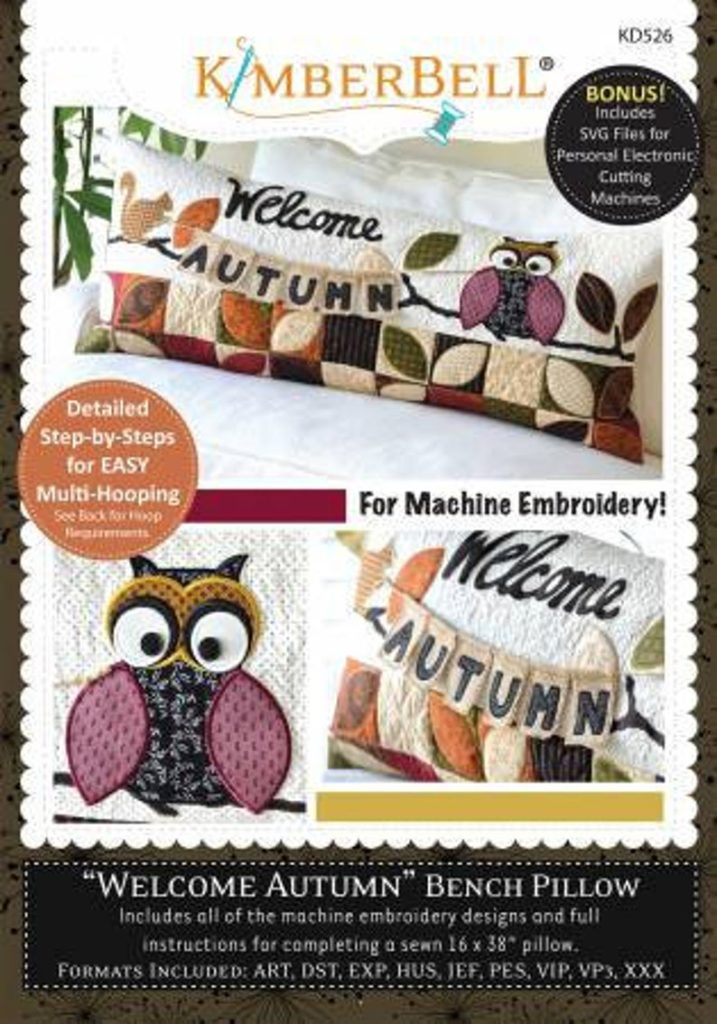 Kimberbell Designs WELCOME AUTUMN Bench Pillow - Machine Embroidery CD