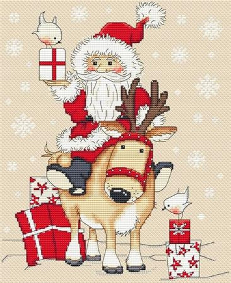 Les Petites Croix De Lucie CHRISTMAS FATHER ARRIVES Cross Stitch Pattern