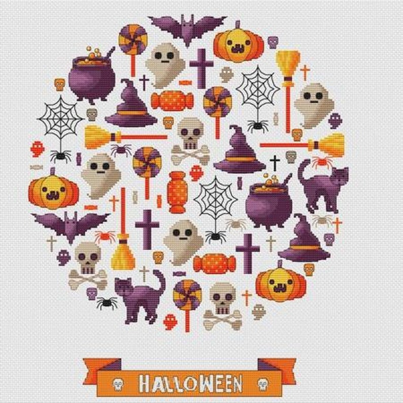 Les Petites Croix De Lucie HALLOWEEN PARTY Cross Stitch Pattern