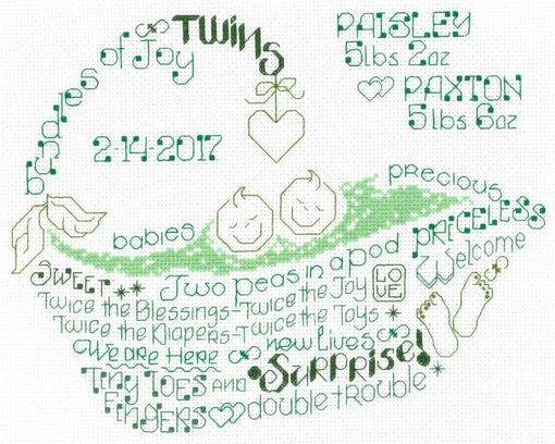 Imaginating LET'S LOVE TWINS Cross Stitch Pattern
