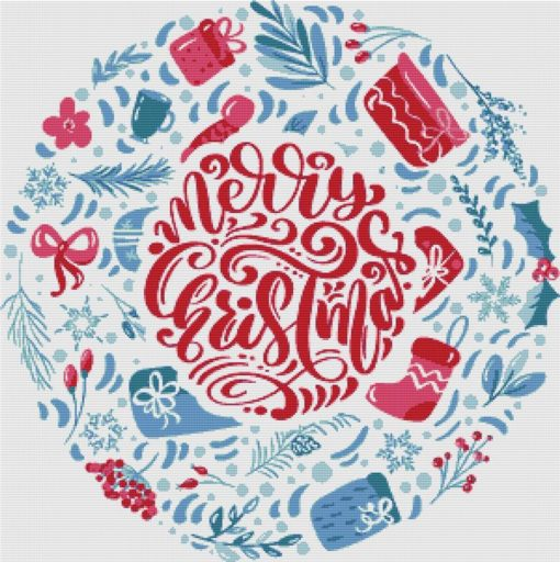 X Squared MERRY CHRISTMAS CIRCLE Cross Stitch Pattern