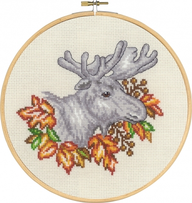Permin MOOSE IN FALL Cross Stitch Kit