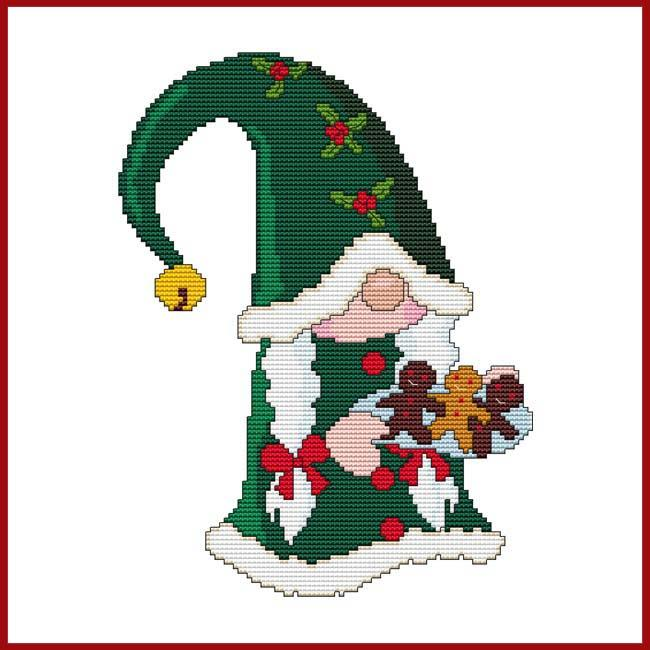SANTA GNOME MS. CHRISTMAS COOKIE Cross Stitch Pattern