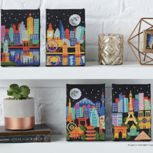 Tiny Modernist NIGHT SKYLINES Cross Stitch Pattern – 4 Designs