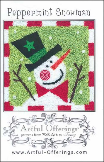 Artful Offerings PEPPERMINT SNOWMAN Punch Needle Pattern