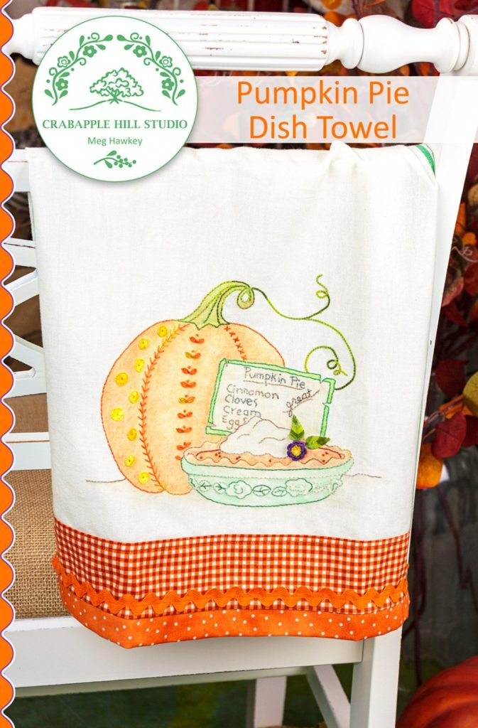 Crabapple Hill Studio PUMPKIN PIE DISH Towel Hand Embroidery Pattern