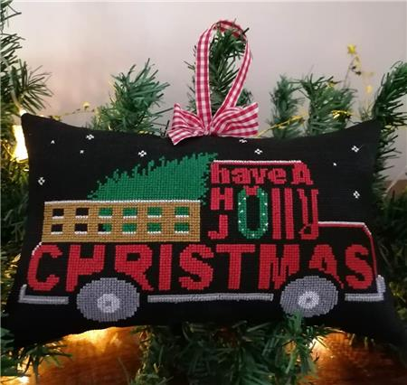 Twin Peak Primitives Holly Jolly CHRISTMAS SERIES RED TRUCK Cross Stitch Pattern