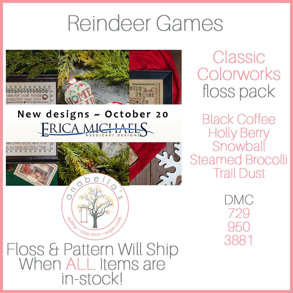 Pre-Order! Erica Michaels REINDEER GAMES Cross Stitch Pattern