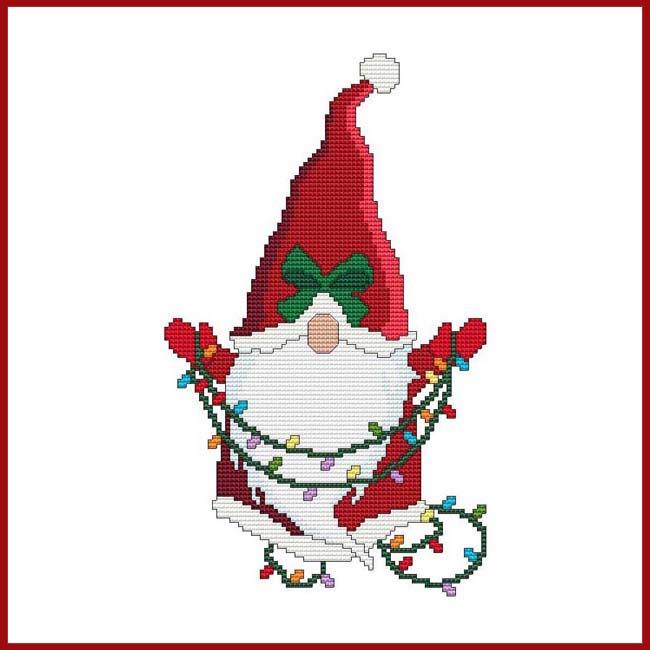 Santa Gnome With Christmas Lights