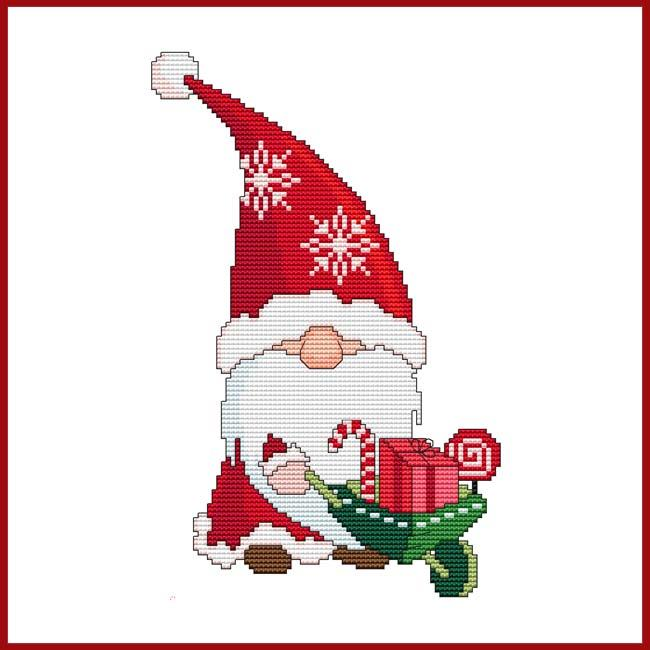 SANTA GNOME WITH GIFTS IN WHEELBARROW Cross Stitch Pattern
